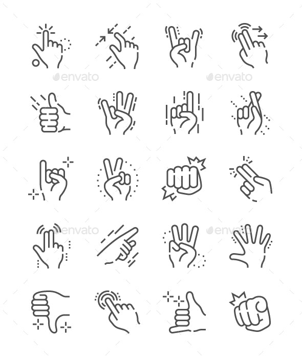 Gesture Line Icons - People Characters