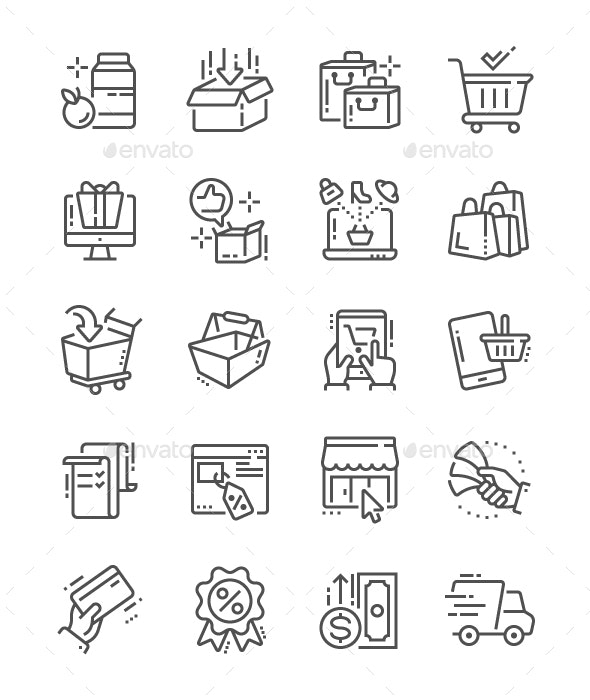Shopping Line Icons - People Characters