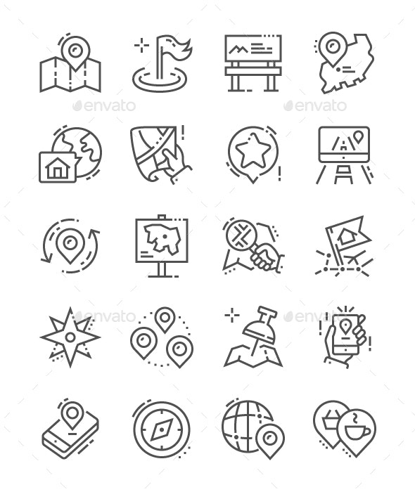 Location Line Icons - Business Icons