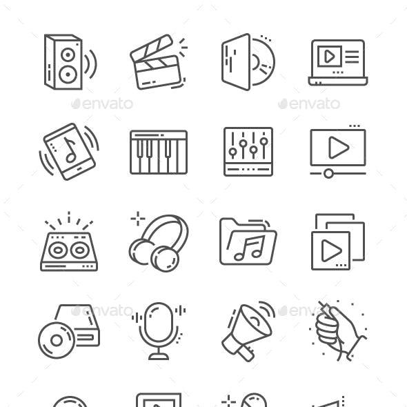 Audio Video Line Icons