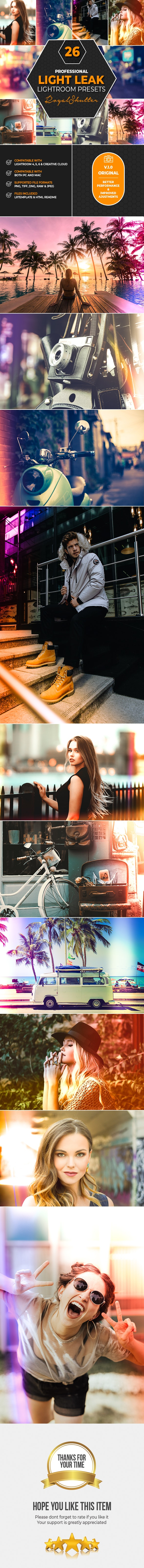 26 Light Leak Lightroom Presets - Lightroom Presets Add-ons