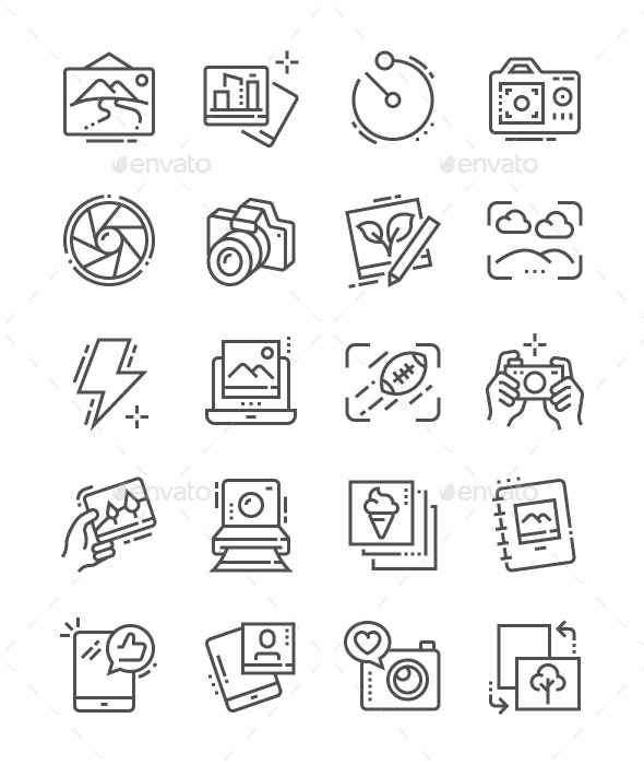 Photo Line Icons - Technology Icons