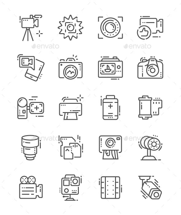 Camera Line Icons - Technology Icons