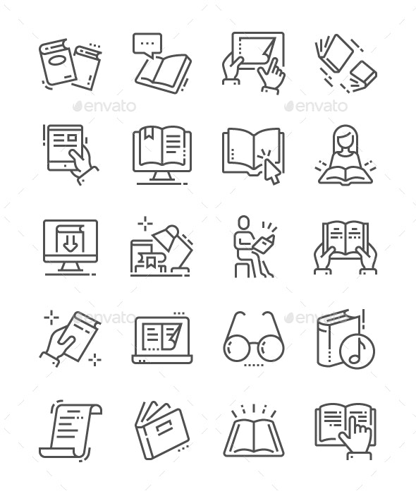 Reading Line Icons - Media Icons