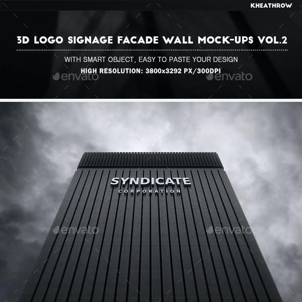 3D Logo Signage Facade Wall Mock-Ups Vol.2