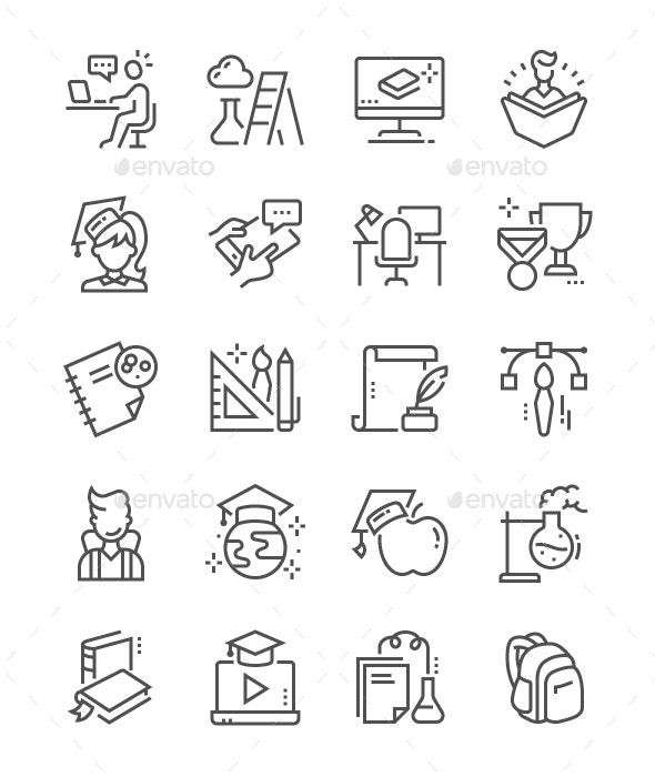 Education Line Icons - Miscellaneous Characters