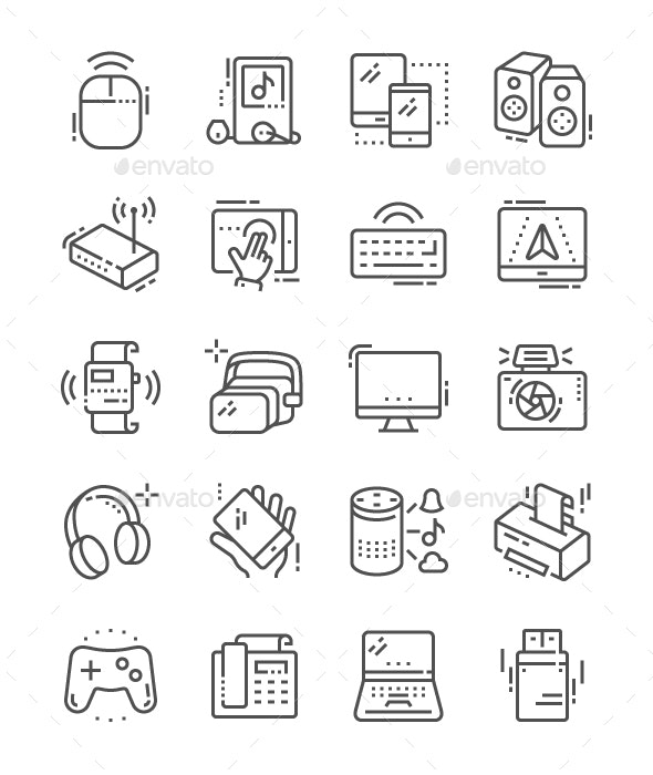 Devices Line Icons - Technology Icons