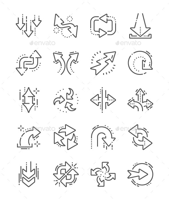 Arrows Line Icons - Business Icons