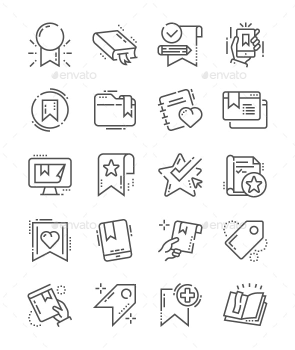 Bookmarks & Tags Line Icons - Business Icons