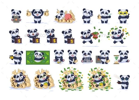 Set Kit Collection Emoji Character Cartoon Panda - Business Conceptual