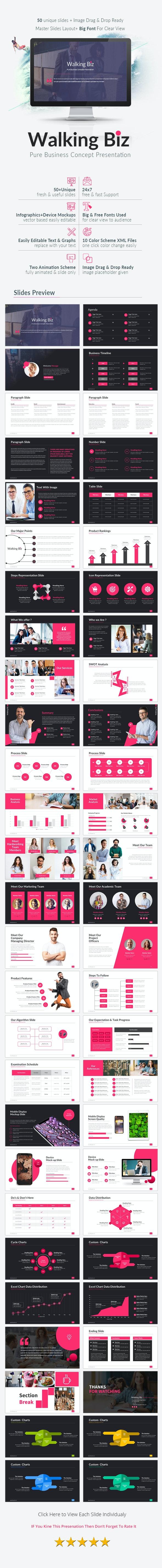 Walking Biz Power Point Template - Business PowerPoint Templates