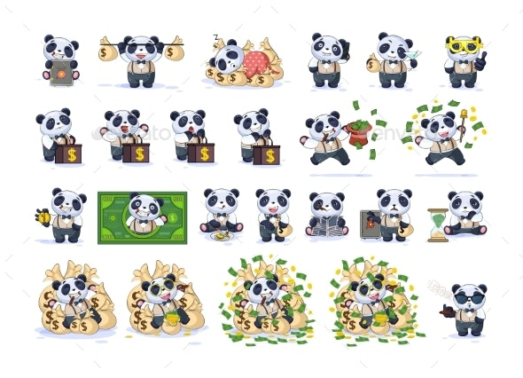 Set Kit Collection Panda in Business Suit - Business Conceptual