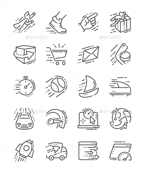 Speed Line Icons - Technology Icons