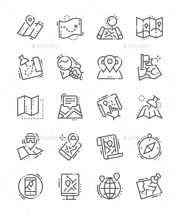 Maps Line Icons - Miscellaneous Characters