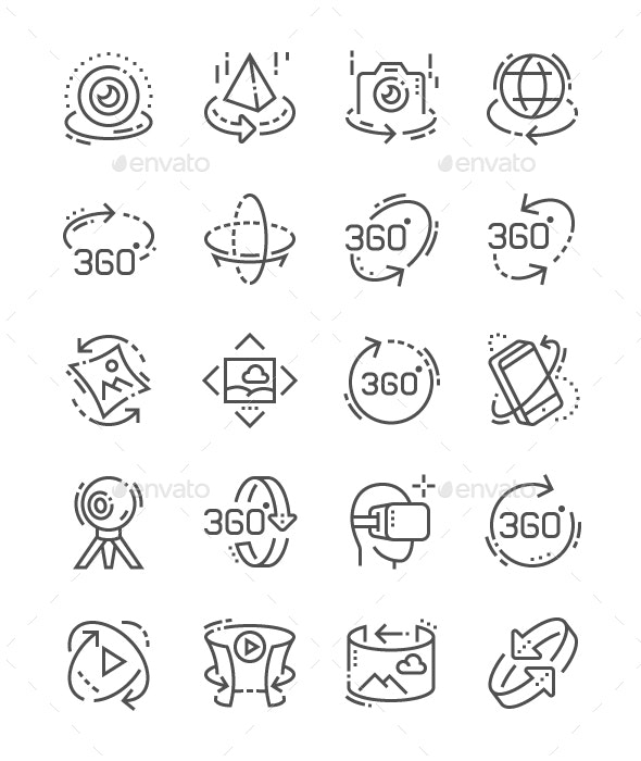 360 degrees Line Icons - Miscellaneous Characters