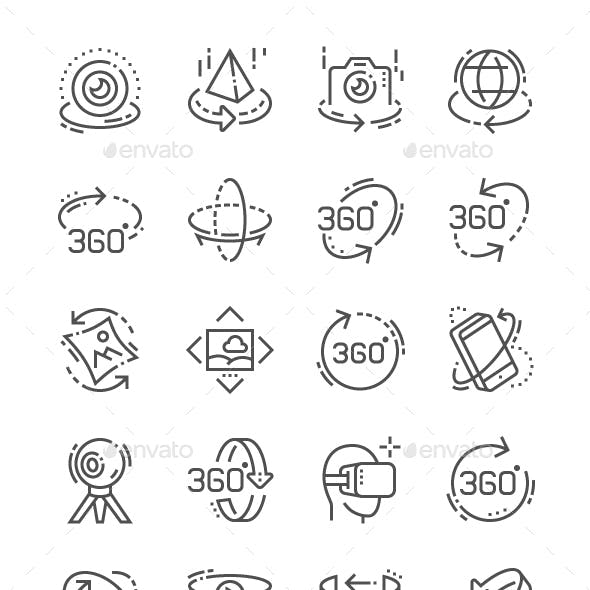 360 degrees Line Icons