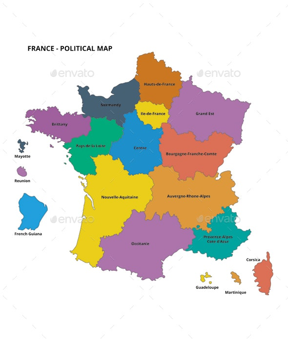 Map Of France Political.France Political Map With Flat Colors