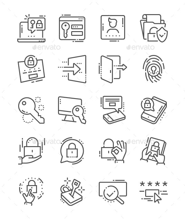 Login Line Icons - Business Icons