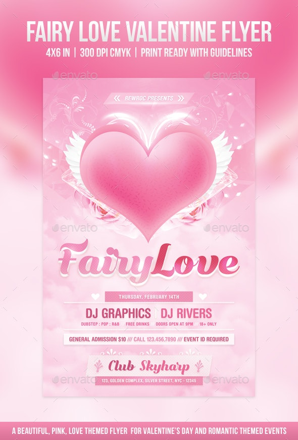 Fairy Love Valentine Flyer - Holidays Events