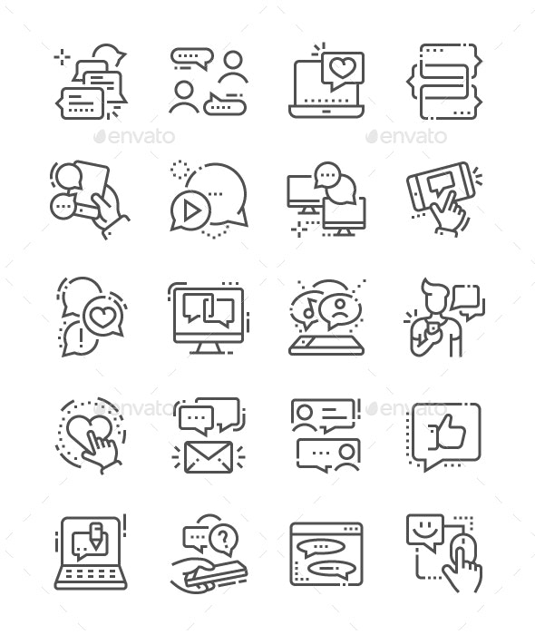 Chat Line Icons - Media Icons