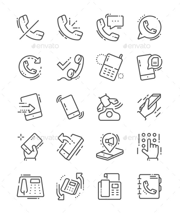 Phones Line Icons - Technology Icons