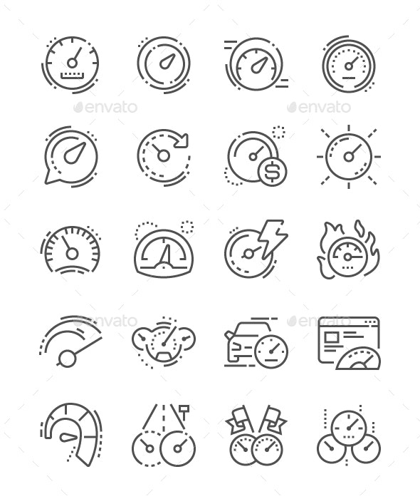 Speedometer Line Icons - Technology Icons