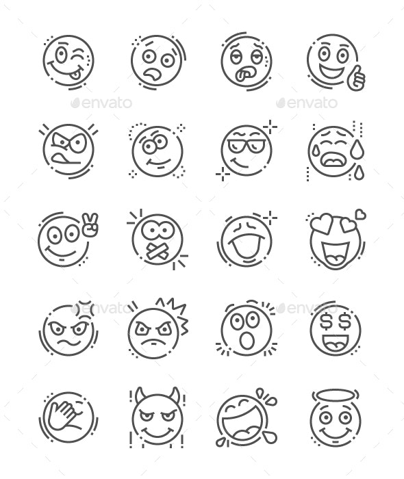 Emotions Line Icons - People Characters