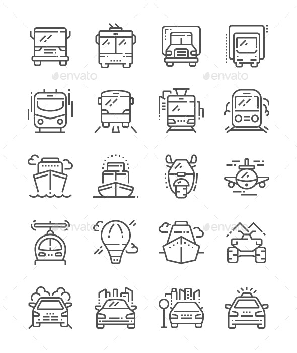 Transport Front View Line Icons - Technology Icons