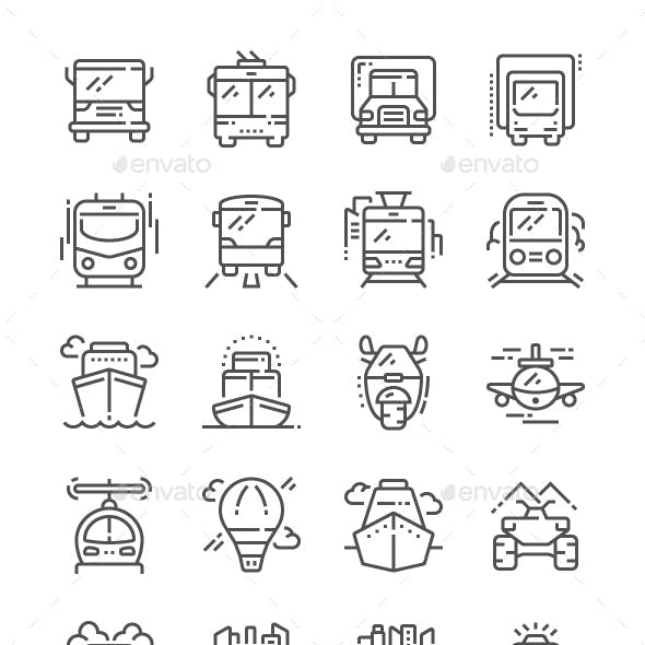 Transport Front View Line Icons