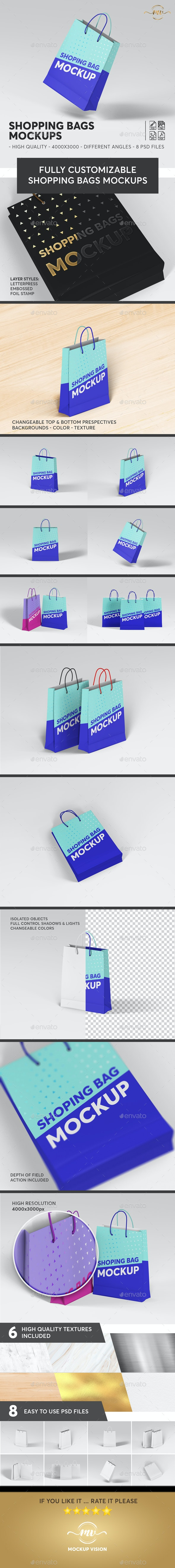 Shopping Bags Mockups - Stationery Print