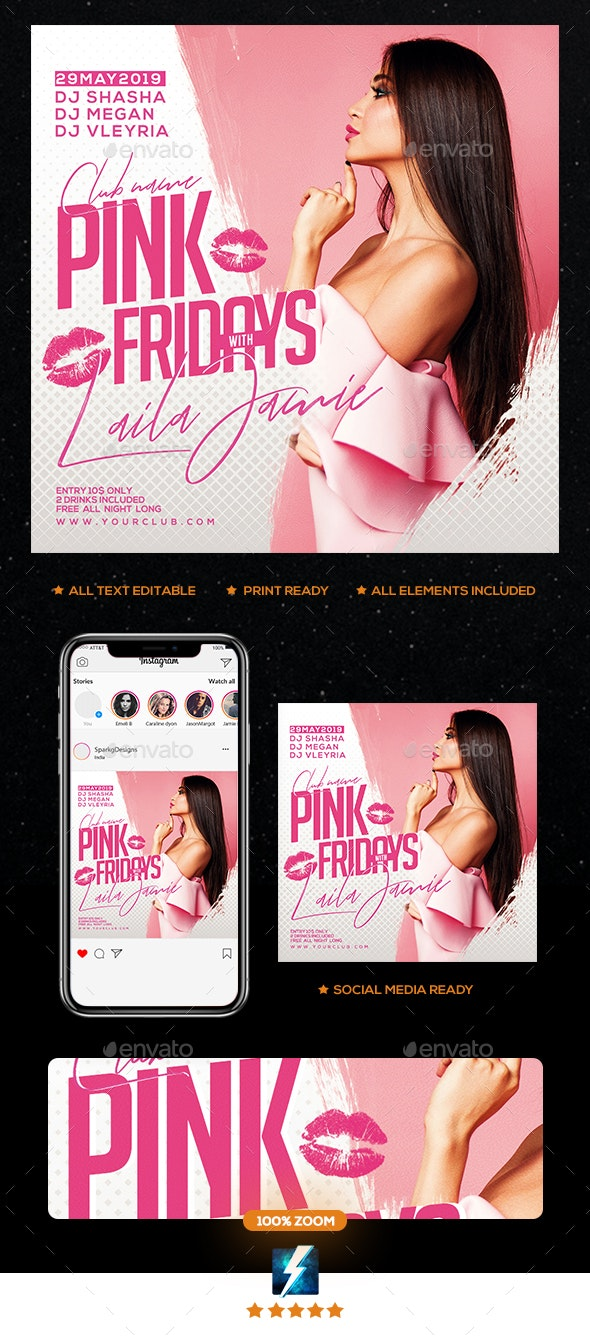 Pink Fridays Party Flyer - Clubs & Parties Events