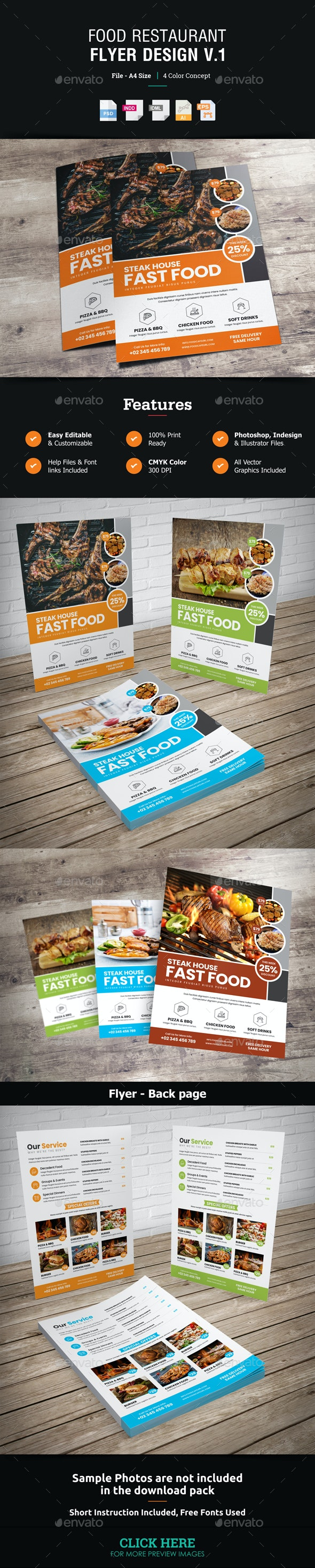 Food Restaurant Flyer Design v1 - Restaurant Flyers