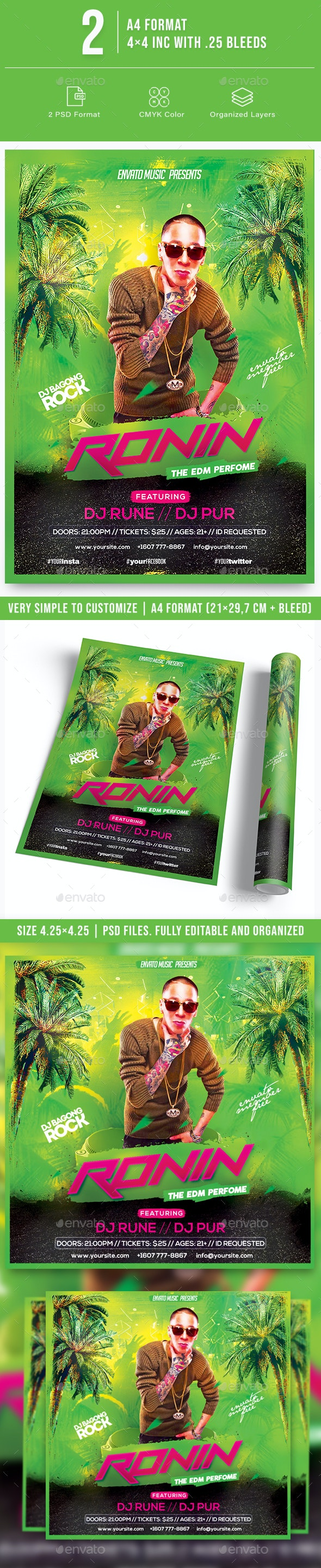 Ronin Night Party Flyer - Clubs & Parties Events