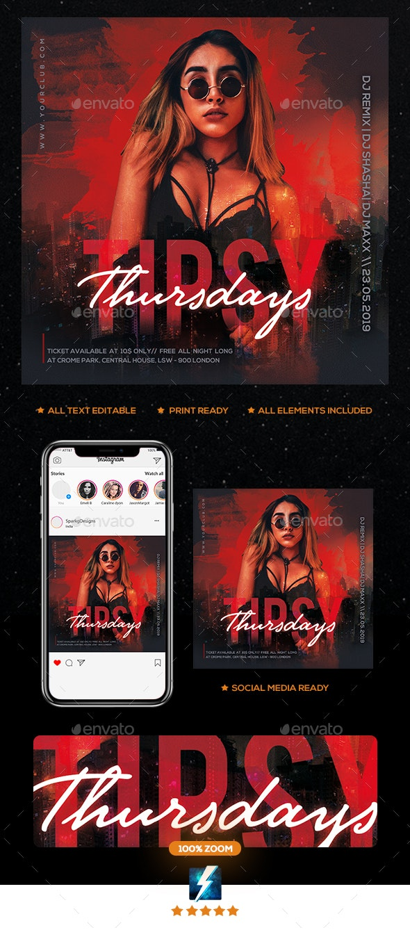 Tipsy Thursday Party Flyer - Clubs & Parties Events