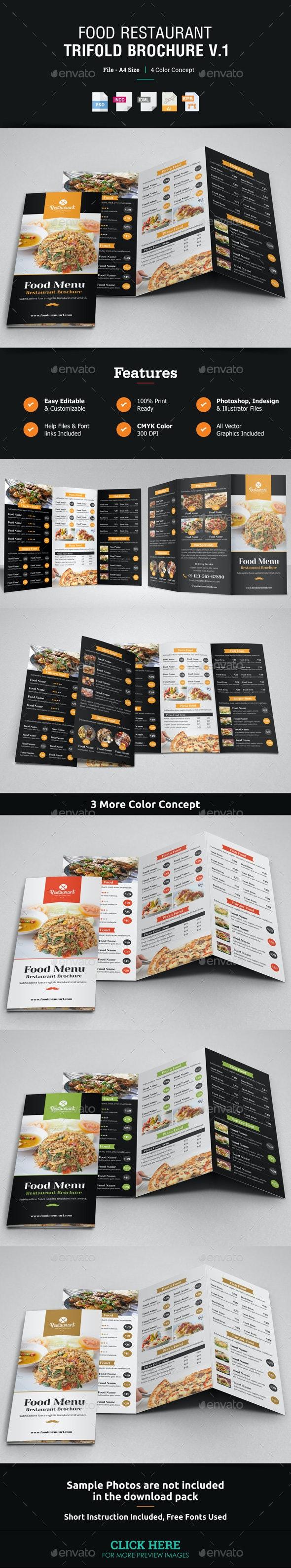 Food Restaurant Trifold Brochure v1 - Catalogs Brochures