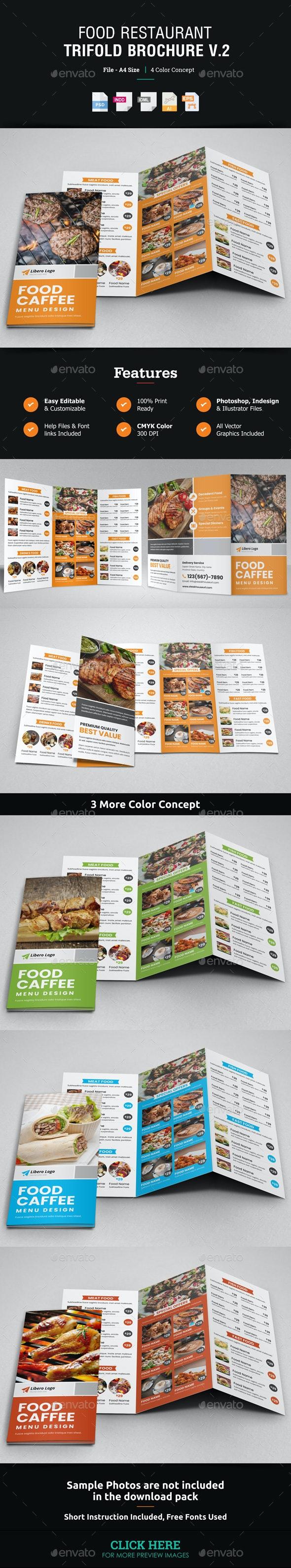 Food Restaurant Trifold Brochure v2 - Catalogs Brochures