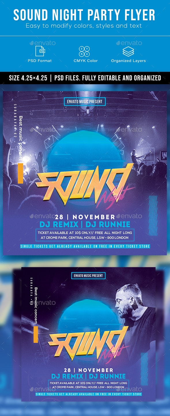 Sound Night Party Flyer - Clubs & Parties Events