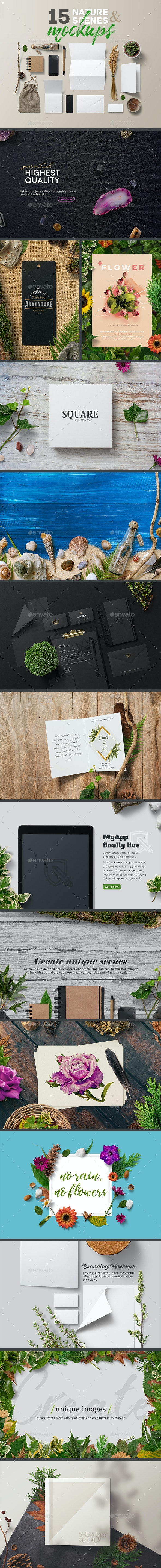 15 Nature Scenes & Mockups - Stationery Print
