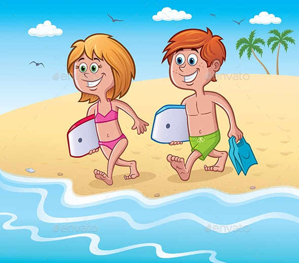 Kids with Bodyboards at the Beach - People Characters