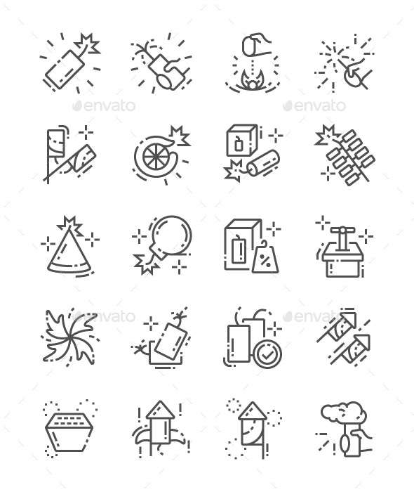 Pyrotechnics Line Icons - Technology Icons