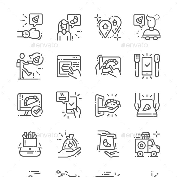 Food delivery Line Icons