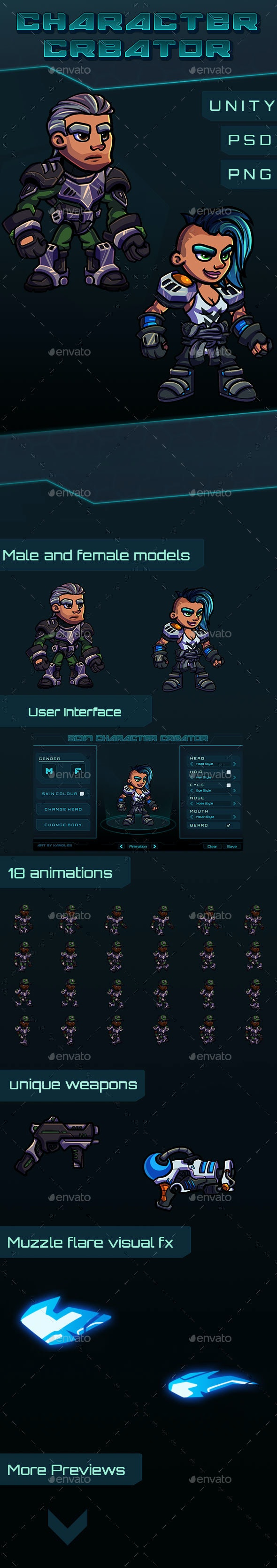 Scifi Character Creator - Sprites Game Assets
