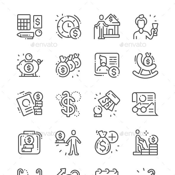Pension Funds Line Icons