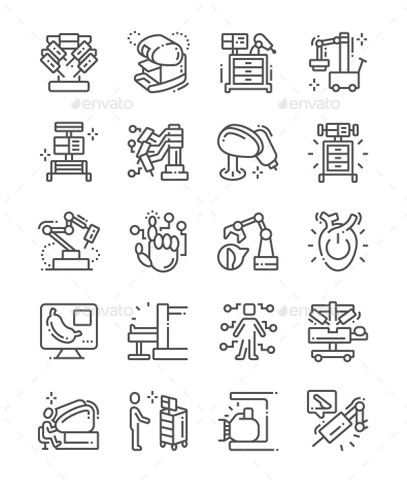 Robotic Surgery Line Icons - Technology Icons