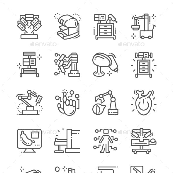 Robotic Surgery Line Icons
