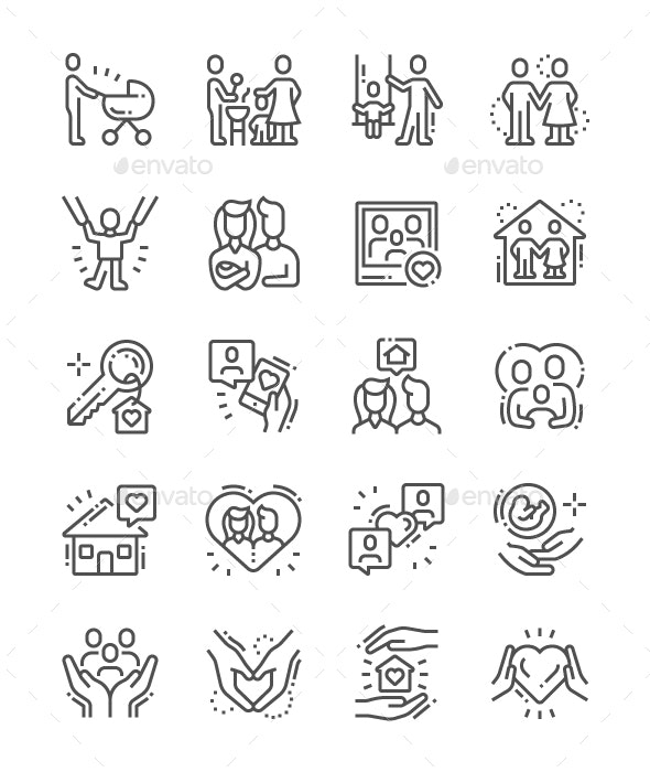 Family Line Icons - People Characters