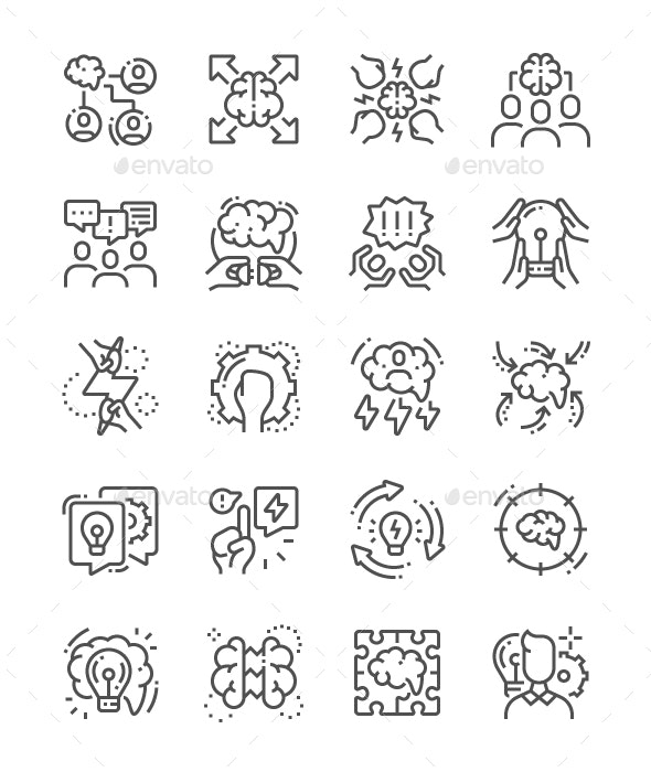 Brainstorm Line Icons - Business Icons