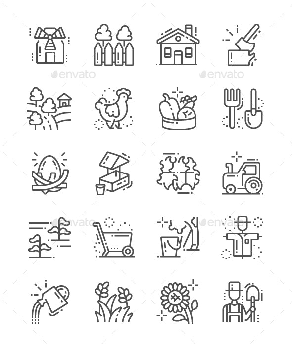 Village Line Icons - Miscellaneous Characters