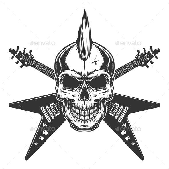 Vintage Punk Rock Star Skull - Miscellaneous Vectors