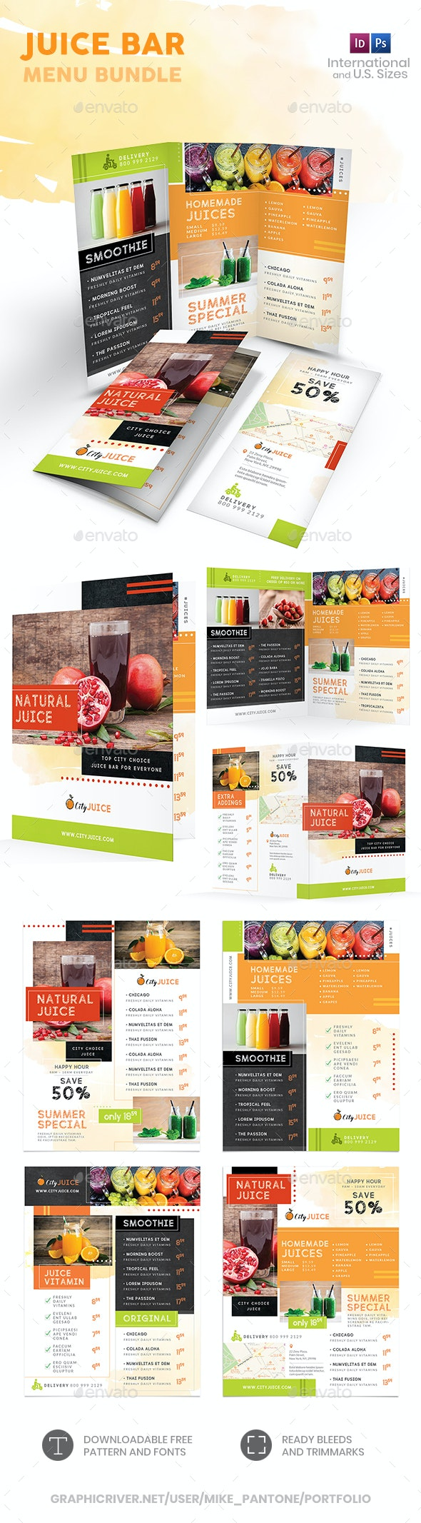 Juice Bar Menu Print Bundle 2 - Food Menus Print Templates
